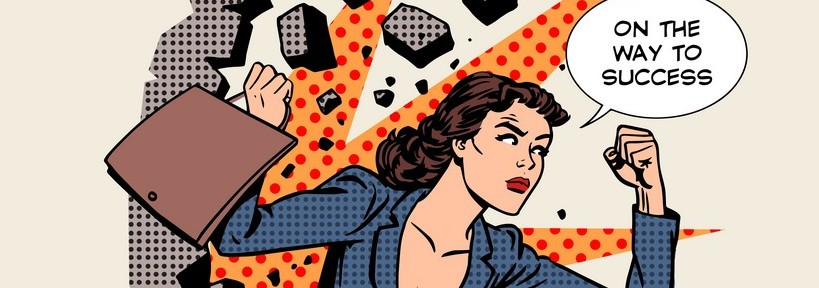 Business success businesswoman breaks the wall. Retro style pop art